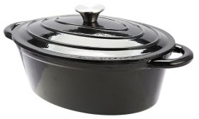 Black Cast Iron Oval Casserole Pot 29 x 20 x 11 cm 3.5L Sunnex CSTOCA24K