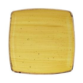 Churchill Stonecast Deep Square Plate Mustard Seed Yellow 260mm - DF793 - pk 6