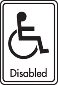 Disabled symbol with text. Black on white. F/M