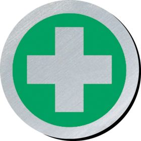 First aid symbol 75mm disc silver finish