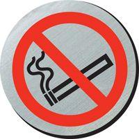 No smoking symbol 75mm disc silver finish