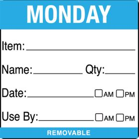 Use By Food Labels - Monday item/date/use by 50x50mm - 500 per roll