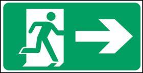 Exit man arrow right. 150x300mm  F/P