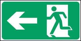 Exit man arrow left. 150x300mm S/A
