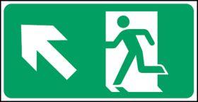 Exit man arrow up left. 150x300mm S/A