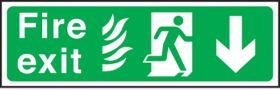 Fire exit arrow down Hospital. 150x450mm P/L