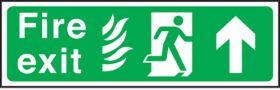 Fire exit arrow up Hospital. 150x450mm P/L