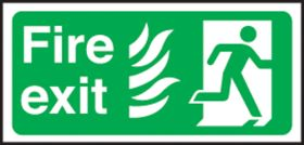 Fire Exit right Hospital. 150x300mm S/A