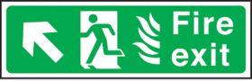 Fire exit arrow up left Hospital. 150x450mm S/A