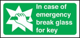 In case of emergency break glass for key. 100x200mm F/P