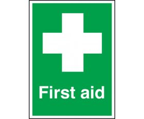 First Aid Text & Symbol Sign 150x100mm Self Adhesive