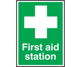 First Aid Station Sign 150x100mm Self Adhesive