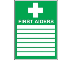 First Aiders Sign 300x200mm Polypropylene or Self-Adhesive