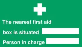 Nearest first aid box/person in charge sign150x300mm self adhesive or polypropylene