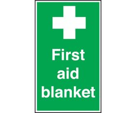 First Aid Blanket Sign 200x150mm Self Adhesive or Polypropylene