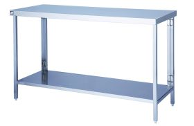 Parry FTAB - Stainless Steel Flatpack Table With Shelf - 500(W) x 600(D) x 900(H) mm