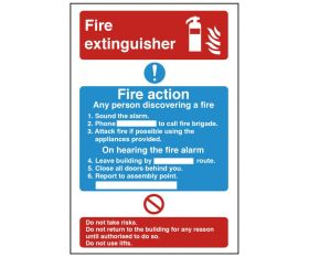 Dual Fire Extinguisher & Fire Action Safety Sign 300x200mm