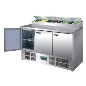 Polar G605 - Refrigerated Pizza and Salad Prep Counter - 390Ltr