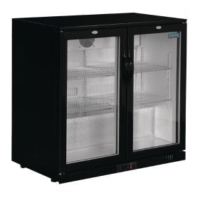 Polar GL012 Back Bar Cooler with Hinged Doors in Black 198Ltr