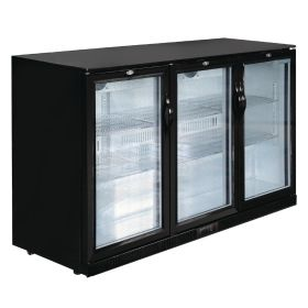 Polar GL014 Back Bar Cooler with Hinged Doors in Black 320Ltr