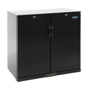 Polar GL016 Back Bar Cooler with Hinged Solid Door in Black 208Ltr