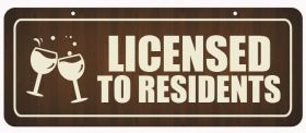 Licensed to Residents Window Hanging Notice.