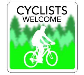 Cyclists  Welcome Hospitality Window Sticker. 150x150mm