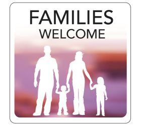 Families Welcome Hospitality Window Sticker. 150x150mm