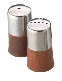 Sunnex Condiment Set Wood Base Stainless Steel Top 6cm
