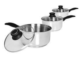 Cook & Eat 3pc S/S Pan Set 14/16/18cm