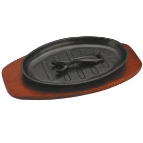 Cast Iron Sizzle Platter 28 x 18cm Oval (Wood Inc) - Induction Compatible