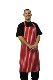 Butcher Stripe Apron Red