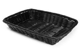 """Rattan Basket Rect 23x15cm / 9""""x6"""" Black"""