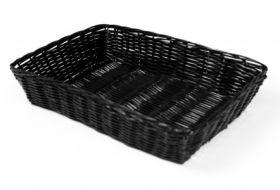 """Rattan Basket Rect 28x40cm /16""""x11"""" Black"""