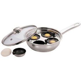 Stainless Steel Egg Poacher Pan With Glass Lid - 22cm