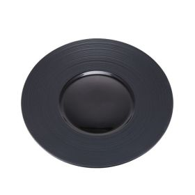 Contra Ribbed Round Black Plate 17cm / 6¾""