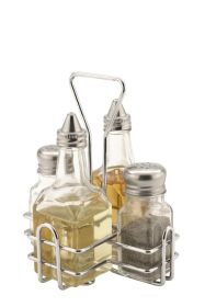 Sunnex Glass Condiment Set 4 Pc - Salt, Pepper, Vinegar & Oil