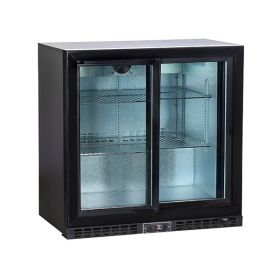 Koldbox KBC2SL Double Sliding Door Bar Bottle Cooler 208L - Black