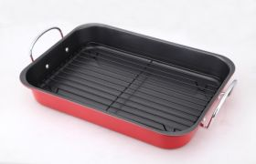 Non-Stick Roasting Tray With Rack 37x28cm - Red