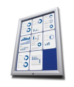 9 x A4 Silver Premium Lockable Notice Board with blue felt