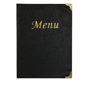 A4 Menu Holder Black 8 Pages - Genware