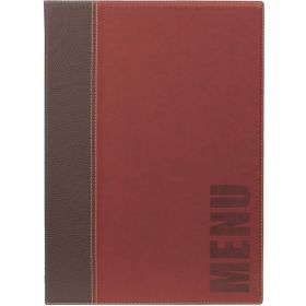 Contemporary A4 Menu Holder Wine Red 4 Pages - Genware
