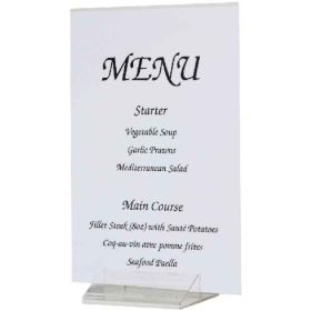Acrylic Menu / Card Holder Tent Shape
