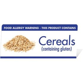 "Allergen Warning Buffet Tent Notice ""This Product Contains Cereals"" BT006"
