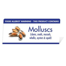 "Allergen Warning Buffet Tent Notice ""This Product Contains Molluscs"" BT0018"
