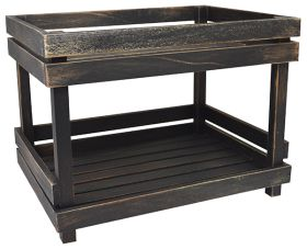 Black Washed Wooden Two Tier Display Shelves NAT-2TSB