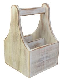 White Washed Wooden Table Caddy - NAT-CDW