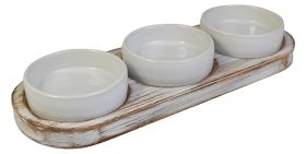 White Washed Wooden Dips Tray NAT-DTW
