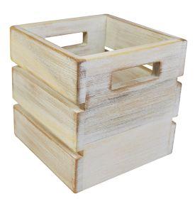 White Washed Mini Crate 16 x 16 x 16 xm - NAT-MCW