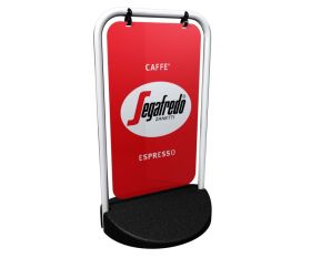 Swinger 2 Panel Pavement Display Sign with Graphics. 430x750mm. (White or Black)